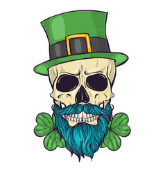 color handdrawn skull leprechaun vector image