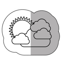 contour sticker sun with clouds icon vector image