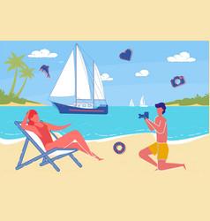 couple in love summer on vacation ocean beach vector image