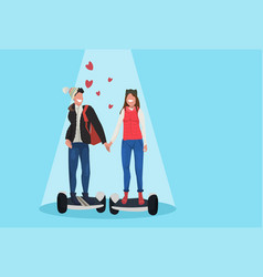 couple riding electric scooter hover board happy vector image