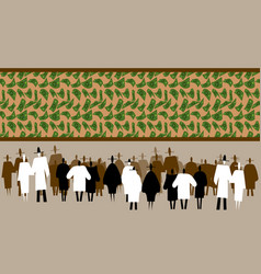 crowd of people watching flying money panorama vector image