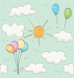 cute baby cloud pattern and balloons vector image
