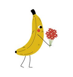 Cute banana standing with bouquet flowers vector