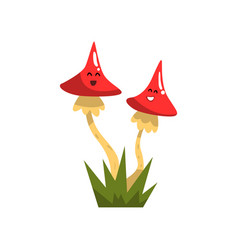 Cute funny toadstool mushroom characters with vector