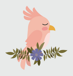 Cute pink bird in branch with flower vector