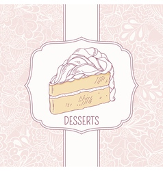 Dessert menu template with sweet cake and doodle vector