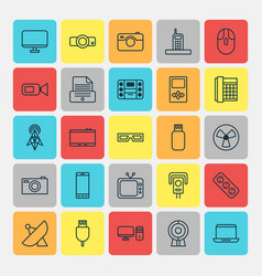 Device icons set collection camcorder vector