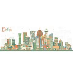 Doha qatar city skyline with color buildings vector