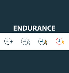 Endurance icon set premium symbol in different vector