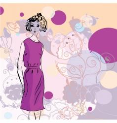 fashion girl swirls vector image