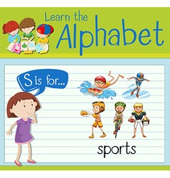 Flashcard alphabet S is for sports vector image