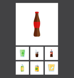 Flat icon beverage set of drink carbonated juice vector