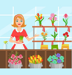 Flower shop cheerful young woman florist in apron vector