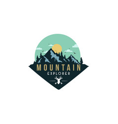 Forest mountain adventure deer hunter badge vector