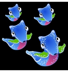Four blue fictional fish on a black background vector image