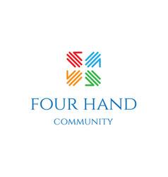 Four hand team teamwork charity foundation unity vector