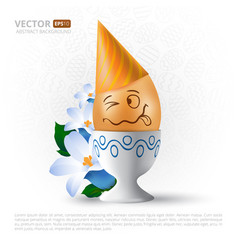 Funny cartoon emotional easter egg with painted vector