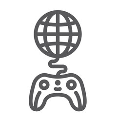 global game line icon play and world globe with vector image