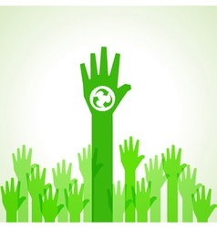 Green helping hand with recycle icon vector