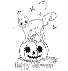 halloween coloring page with a cat standing vector image