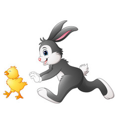happy bunny with chick playing in the park vector image