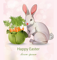 happy easter card with rabbit and carrots vector image