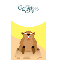 happy groundhog day lettering text greeting card vector image