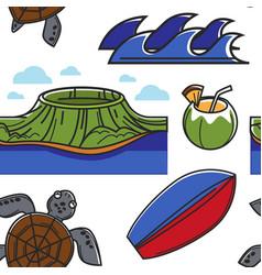 hawaiian symbols and culture seamless pattern vector image