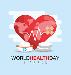 Heartbeat with drugs to world health day vector