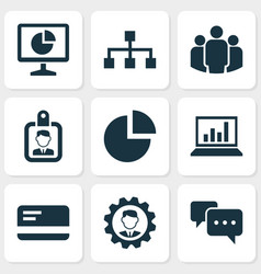 job icons set with structure analytics team and vector image