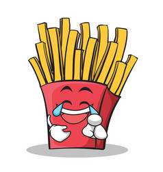 joy face french fries cartoon character vector image