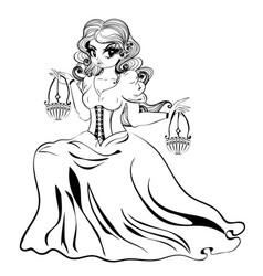libra zodiac girl vector image