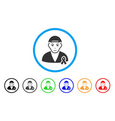 man with mouning ribbon rounded icon vector image vector image