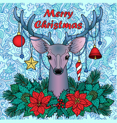 merry christmas deer on doodle seamless background vector image