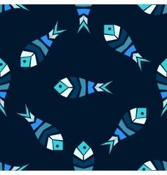 Mosaic fish seamless pattern vector