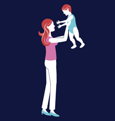 Mother holding baby blue background vector