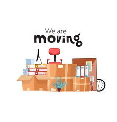 Moving to new office with boxes office vector