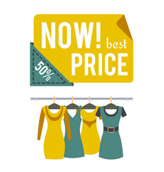 Now price 50 half price sale special offer label vector