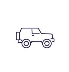 Off-road car 4wd suv line icon vector