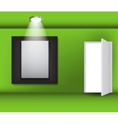 Open white door and white frame in art gallery on vector image