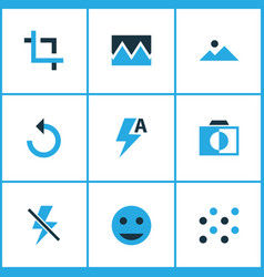 Picture icons colored set with automatic reload vector