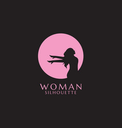 pink woman silhouette vector image