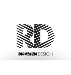 Rd r d lines letter design with creative elegant vector