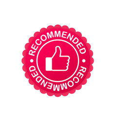 recommend icon white label recommended on blue vector image