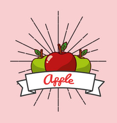 red and green apple fruit organic vitamins emblem vector image
