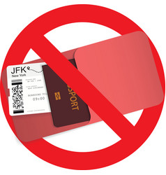 Red stop sign and boarding pass ticket vector