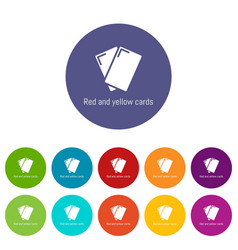 Red yellow card icons set color vector