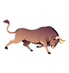 running buffalo with sharp horns ox or bull vector image