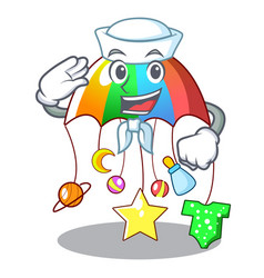 Sailor character hanging toy attached to cot vector