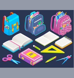 Schoolbags and stationery school stuff isolated vector